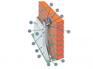 Облицовка на стальном каркасе из плит КНАУФ-Файерборд (наружный слой) С 631.2