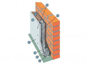 Облицовка на стальном каркасе, установленном на относе от базовой стены с однослойной обшивкой из плит КНАУФ-Файерборд С 635