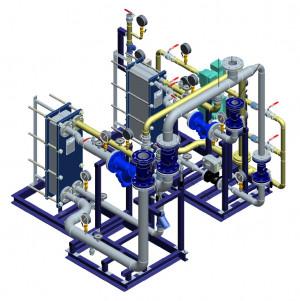 Блочный тепловой пункт (БТП) WaterLine (WL) Ридан - Блок ГВС (2-ступенчатая смешанная схема ГВС на базе отдельных теплообменников 1 и 2 ступеней)