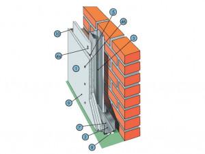 Облицовка на стальном каркасе из плит КНАУФ-Файерборд (наружный слой) и гипсокартонных листов (внутренний слой) С 636