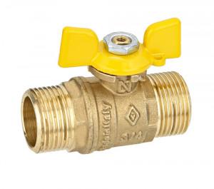 Кран шаровой Ду 25 Бугатти, газ, наружная/наружная резьба, «бабочка» из алюминия желтого цвета, Bugatti