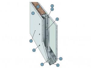 Перегородка на одинарном стальном каркасе с однослойными обшивками из плит КНАУФ-Файерборд C 131.1