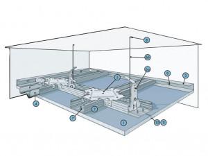 Подвесной потолок из плит КНАУФ-Файерборд на одноуровневом металлическом каркасе П 233