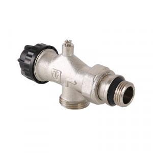Валтек VT.049.NE клапан термостатический угловой с осевым управлением, предварительной настройкой и воздухоотводчиком, Valtec