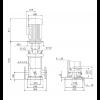 Габариты вертикального многоступенчатого центробежного насоса CRN 150-3-2 HQQV Grundfos