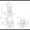 Габариты вертикального многоступенчатого центробежного насоса CRN 150-5-2 HBQE Grundfos