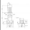 Габариты вертикального многоступенчатого центробежного насоса CRN 64-7 HQQV Grundfos