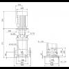Габариты вертикального многоступенчатого центробежного насоса CRN 90-1-1 HQQE Grundfos