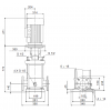 Габариты вертикального многоступенчатого центробежного насоса CRN 90-2-2 HQQE Grundfos