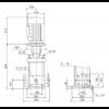 Габариты вертикального многоступенчатого центробежного насоса CRN 90-3-2 HQQE Grundfos