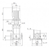 Габариты вертикального многоступенчатого центробежного насоса CRN 90-3-2 HQQV Grundfos