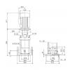 Габариты вертикального многоступенчатого центробежного насоса CRN 120-1 HQQE Grundfos