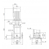 Габариты вертикального многоступенчатого центробежного насоса CRN 120-2-1 HQQE Grundfos
