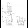 Габариты вертикального многоступенчатого центробежного насоса CRN 120-4-1 HQQE Grundfos