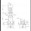 Габариты вертикального многоступенчатого центробежного насоса CRN 120-6-1 HBQE Grundfos