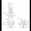 Габариты вертикального многоступенчатого центробежного насоса CRN 150-2-1 HQQV Grundfos