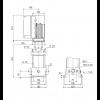 Габариты вертикального многоступенчатого центробежного насоса CRE 3-2 HQQE Grundfos