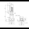 Габариты вертикального многоступенчатого центробежного насоса CRE 10-3 HQQE Grundfos