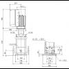Габариты вертикального многоступенчатого центробежного насоса CRE 10-9 HQQE Grundfos