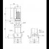 Габариты вертикального многоступенчатого центробежного насоса CRE 1-17 HQQE Grundfos