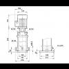 Габариты вертикального многоступенчатого центробежного насоса CRT 2-2 AUUE Grundfos
