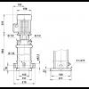 Габариты вертикального многоступенчатого центробежного насоса CRT 2-26 AUUE Grundfos