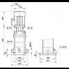Габариты вертикального многоступенчатого центробежного насоса CRT 4-7 AUUE Grundfos