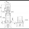 Габариты вертикального многоступенчатого центробежного насоса CRT 2-3 AUUE Grundfos