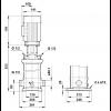 Габариты вертикального многоступенчатого центробежного насоса CRT 8-1 AUUE Grundfos