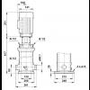 Габариты вертикального многоступенчатого центробежного насоса CRT 8-3 AUUE Grundfos