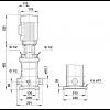 Габариты вертикального многоступенчатого центробежного насоса CRT 8-5 AUUE Grundfos