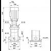 Габариты вертикального многоступенчатого центробежного насоса CRT 8-8 AUUE Grundfos