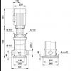 Габариты вертикального многоступенчатого центробежного насоса CRT 8-12 AUUE Grundfos