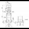 Габариты вертикального многоступенчатого центробежного насоса CRT 2-6 AUUE Grundfos