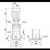 Габариты вертикального многоступенчатого центробежного насоса CRT 16-3 AUUE Grundfos