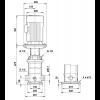 Габариты вертикального многоступенчатого центробежного насоса CRT 16-6 AUUE Grundfos