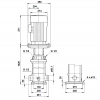 Габариты вертикального многоступенчатого центробежного насоса CRT 16-12 AUUE Grundfos