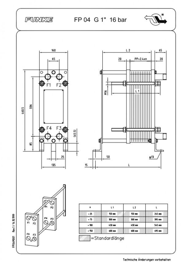 Разборный пластинчатый теплообменник Funke FP04