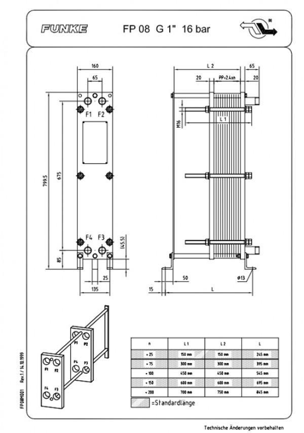 Разборный пластинчатый теплообменник Funke FP08