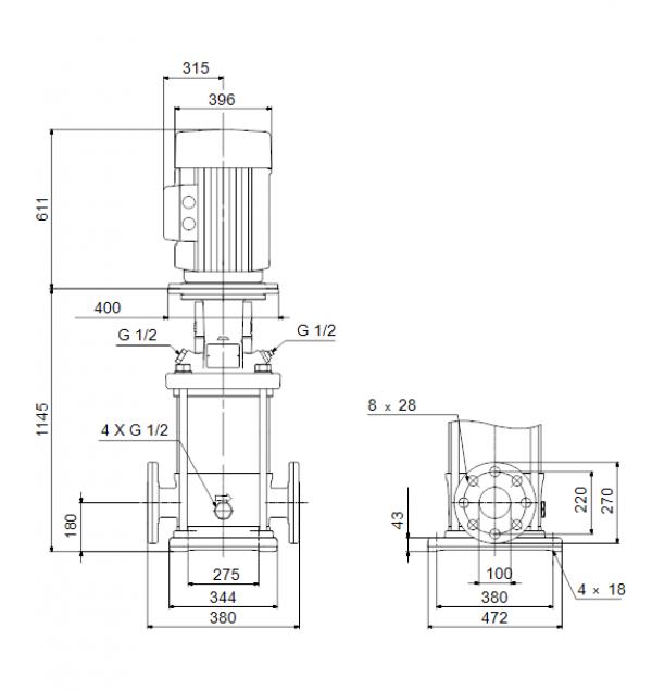 Габариты вертикального многоступенчатого центробежного насоса CRN 150-3-2 HQQE Grundfos