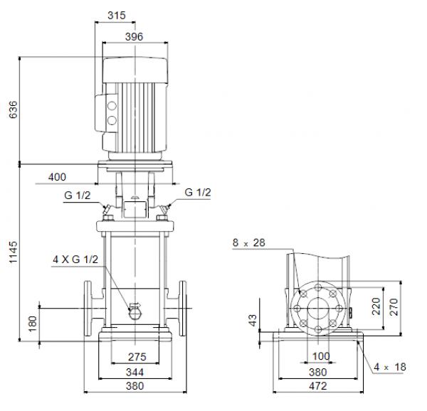 Габариты вертикального многоступенчатого центробежного насоса CRN 150-3 HQQV Grundfos