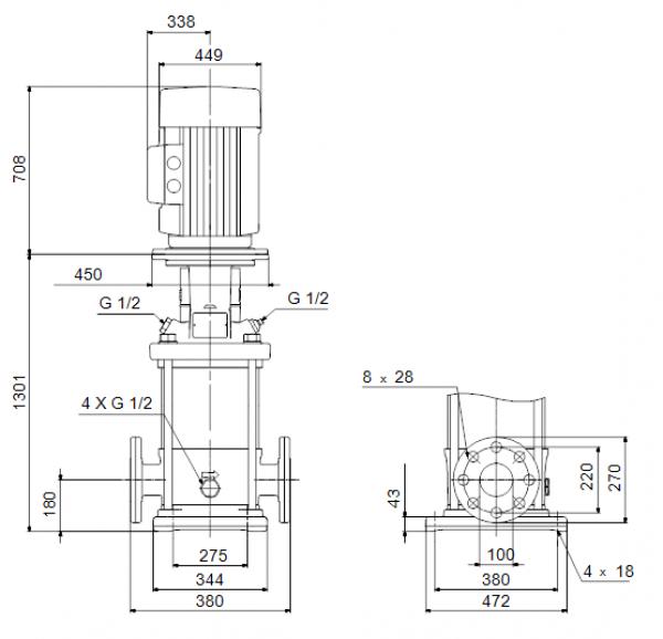 Габариты вертикального многоступенчатого центробежного насоса CRN 150-4-1 HQQV Grundfos