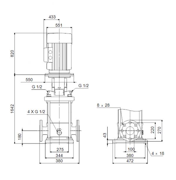 Габариты вертикального многоступенчатого центробежного насоса CRN 150-6 HBQE Grundfos