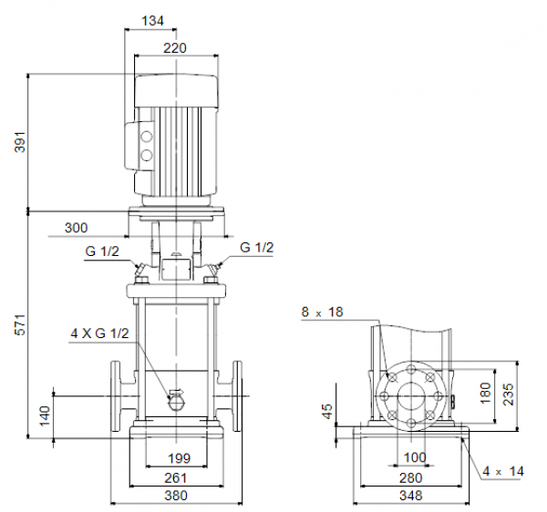 Габариты вертикального многоступенчатого центробежного насоса CRN 90-1-1 HQQV Grundfos