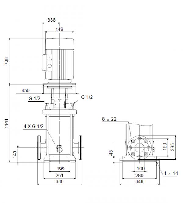 Габариты вертикального многоступенчатого центробежного насоса CRN 90-6-2 HQQV Grundfos