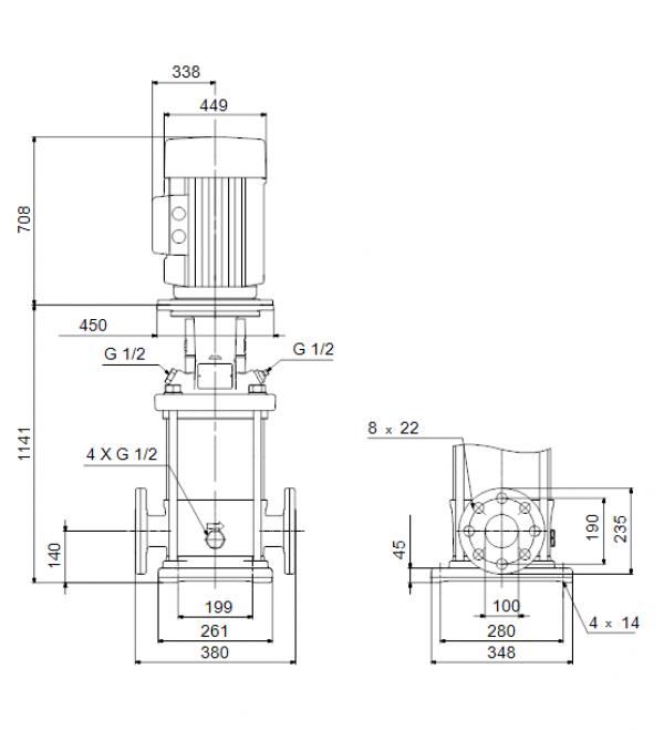 Габариты вертикального многоступенчатого центробежного насоса CRN 90-6 HQQE Grundfos