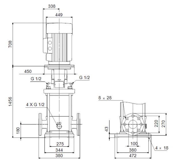 Габариты вертикального многоступенчатого центробежного насоса CRN 120-5-1 HQQE Grundfos
