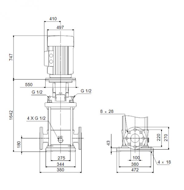Габариты вертикального многоступенчатого центробежного насоса CRN 120-6-1 HBQV Grundfos