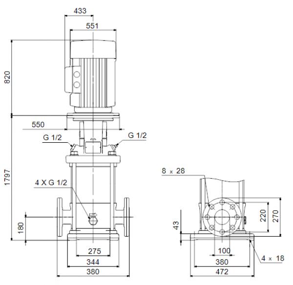 Габариты вертикального многоступенчатого центробежного насоса CRN 120-7 HBQV Grundfos