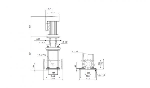 Габариты вертикального многоступенчатого центробежного насоса CRN 150-1-1 HQQV Grundfos